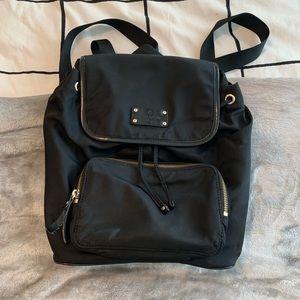 Kate Spade Black Nylon Drawstring Backpack